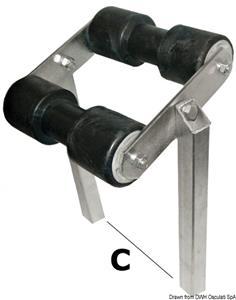 Rullo basculante centrale tubo 40 x 40 mm [Osculati]