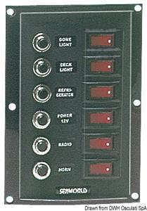 Pannello 6 interruttori+6 fusibili vericale [Osculati]