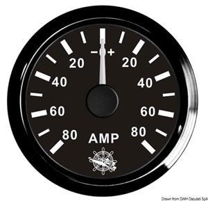 Amperometro con shunt 80 A nero/nera [Osculati]