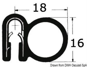 Profilo PVC x bordare nero 25m  [OSCULATI]