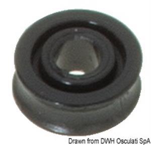 Puleggia in delrin mm 17 per cime Ø mm 5 nera [Viadana]
