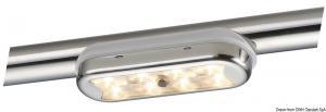 Plafoniera Bimini inox compatta a 8 LED fondo curvo, con interruttore [Osculati]