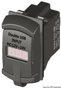 Presa corrente con USB e voltmetro [Osculati]