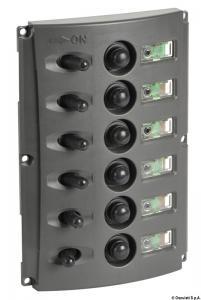 Pannello elettrico fusibili automatici doppio LED [Osculati]