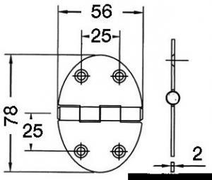 Cerniera 56x78mm 2mm viti