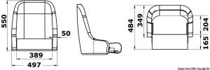 Sedile imbottito rivestito con flip up H51 RAL9010 [Osculati]