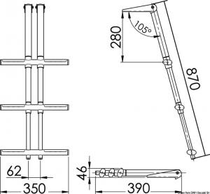 Scaletta DIVER telescopica 3 gradini bianca [Osculati]