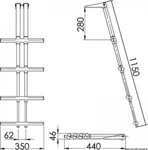 Scaletta DIVER telescopica 4 gradini bianca [Osculati]