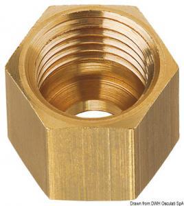 Dado in ottone per tubo rame da 8 mm, passo M14 x 1.5F [GOK]