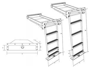 Scala sotto plancia inox ultimo gradino estraibile modello small [TR Inox]