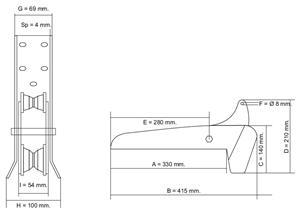 Musone basculante New l. 415 mm