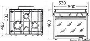 Cucina a gas topline TECHIMPEX a 3 fuochi