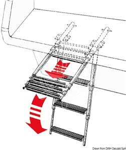 Scaletta telescopica da applicare sotto plancetta a 3 gradini