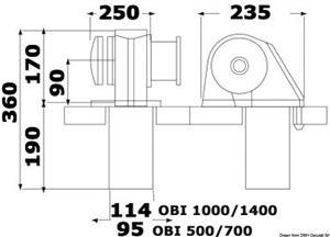 Verricello Italwinch Obi 1500 W - 24 V con campana - barbotin 8 mm