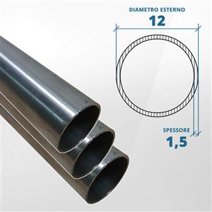 Tubo diametro 12 spessore 1,5 mm (opaco) - AISI 304 [Tuttoinox]