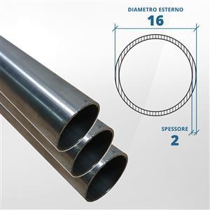 Tubo diametro 16 spessore 2 mm (opaco) - AISI 304 [Tuttoinox]