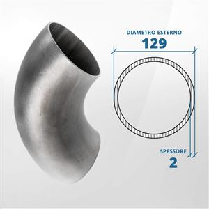 Curva in acciaio inox 90° a saldare diametro 129 spessore 2 mm (opaco)- AISI 304 [Tuttoinox]