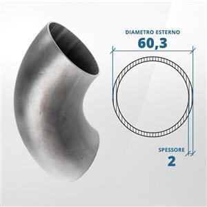 Curva in acciaio inox 90° a saldare diametro 60.3 spessore 2 mm (opaco)- AISI 316 [Tuttoinox]