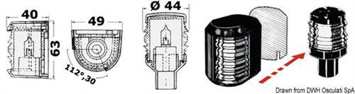 Fanale Utility 88 rosso/verde/nero  [OSCULATI]