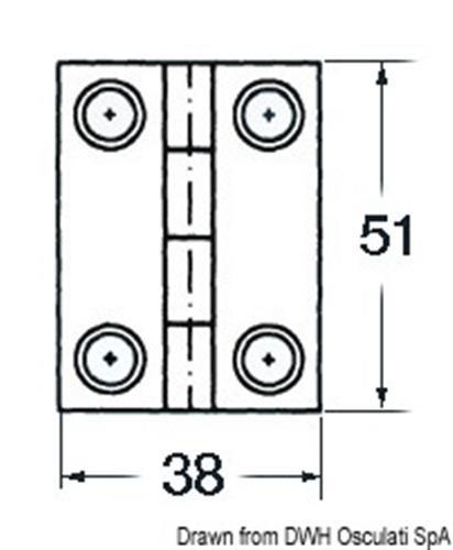 Cerniera inox cieca 51x38 rett [Osculati]