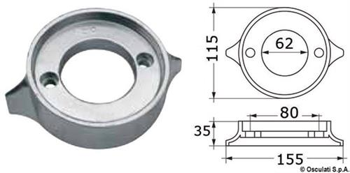 Anodo alluminio collare VOLVO 280/290  [OSCULATI]