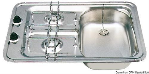 Piano cottura SMEV D (vasca sinistra) con fermapentole [OSCULATI]