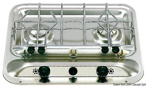 Piano cottura inox SMEV a 2 fuochi  [OSCULATI]