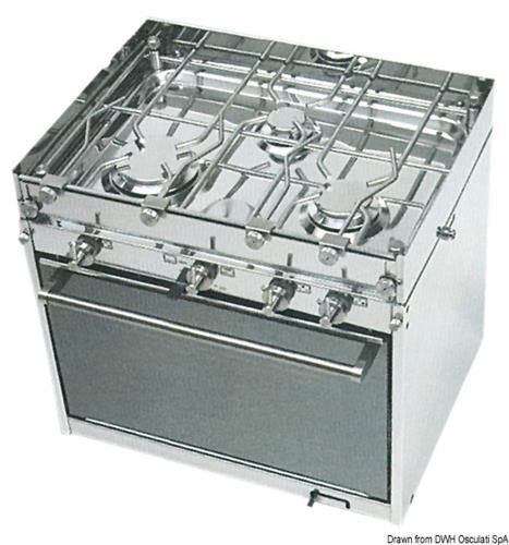 Cucina a gas topline TECHIMPEX a 3 fuochi  [OSCULATI]