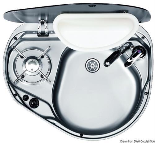 Piano cottura con lavello,vasca DX,vano portarifiuti in vetro fumè [OSCULATI]