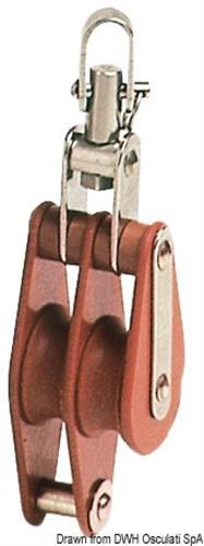Bozzello tufnol a 2 pulegge da 43 mm per cime da 12 mm [OSCULATI]