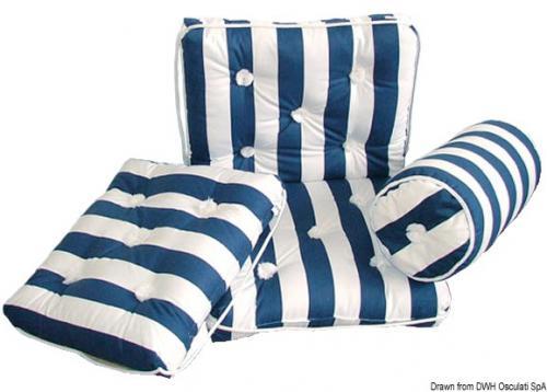 Cuscino forma rollo in cotone blu e bianco