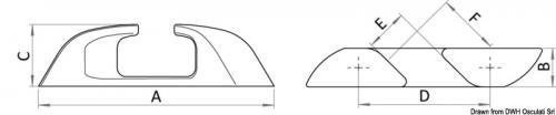Passacavo inox Capri angolato 150mm (SX+DX) [Osculati]