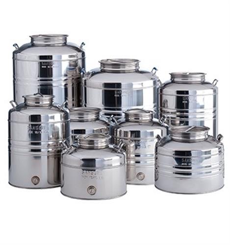 Contenitore olio e vino inox AGGRAFFATO da lt.10 predisposizione rubinetto [SANSONE]