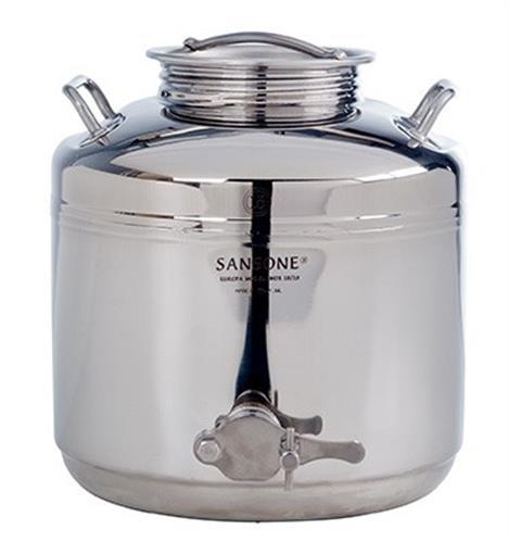 Fusto saldato per il miele con rubinetto da 50 litri.