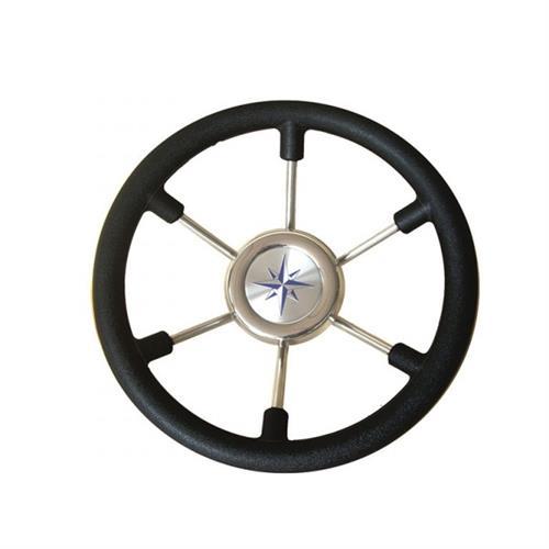 Volante con impugnatura in plastica rigida nera diametro 330  [MAVIMARE]