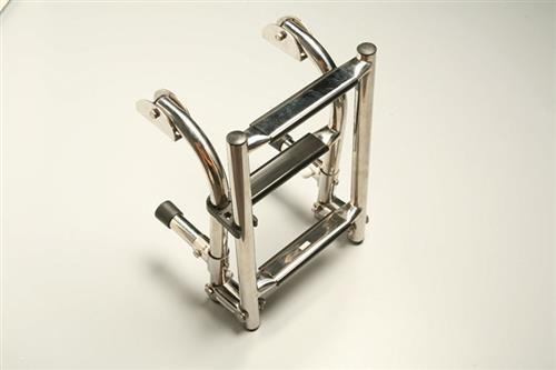 Scaletta in acciaio inox pieghevole con gradini L. 880 mm [MAVIMARE]