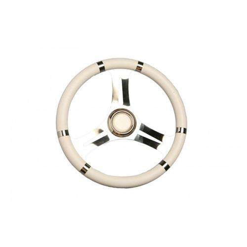 Volante in acciaio inox con impugnatura poliuretano bianco diametro 350 [MAVIMARE]