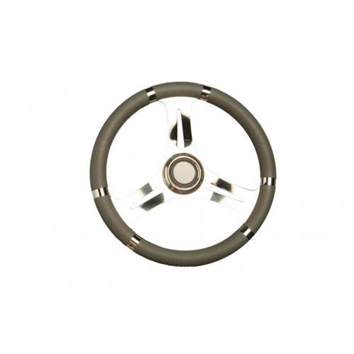 Volante in acciaio inox con impugnatura poliuretano grigio diametro 350 [MAVIMARE]