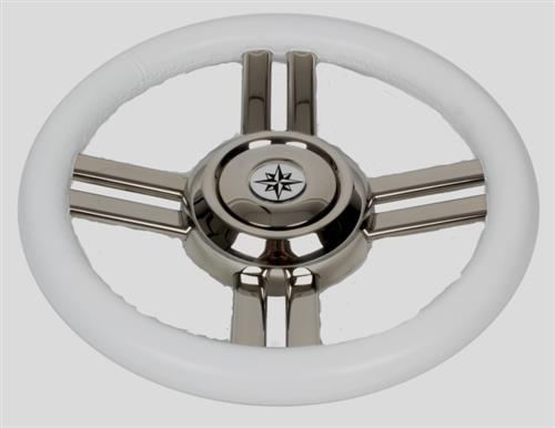 Volante in acciaio inox con impugnatura in poliuretano bianco [MAVIMARE]