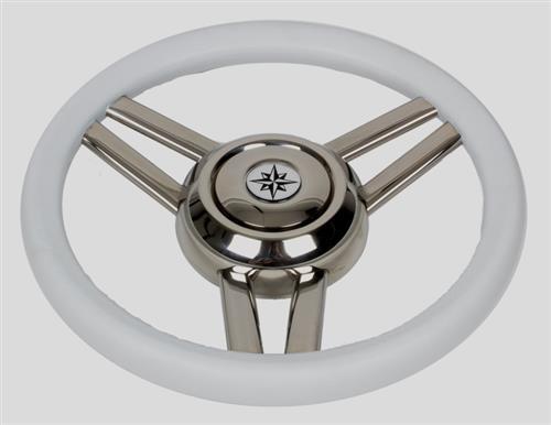 Volante in acciaio inox con impugnatura in poliuretano color bianco