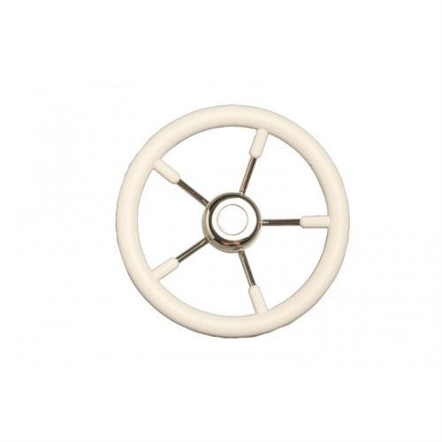 Volante in acciaio inox con impugnatura in poliuretano color bianco diametro 400 [MAVIMARE]
