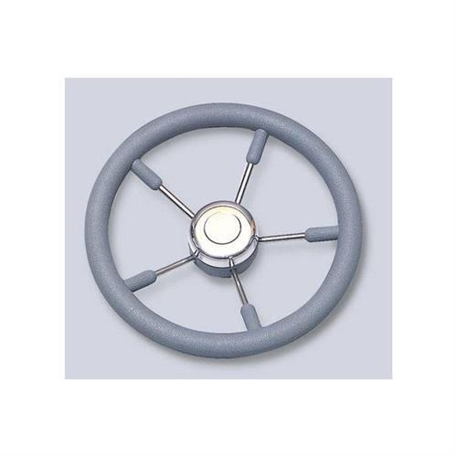 Volante in acciaio inox con impugnatura in poliuretano color grigio diametro 400 [MAVIMARE]