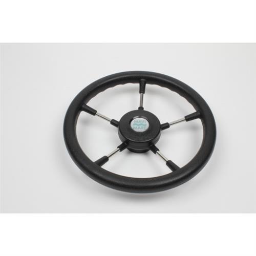 Volante in acciaio inox a cinque razze con impugnatura in poliuretano colore nero [MAVIMARE]
