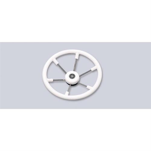 Volante a sei razze con impugnatura in poliuretano colore bianco diametro 330 [MAVIMARE]