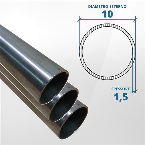 Tubo diametro 10 spessore 1,5 mm (opaco) - AISI 304