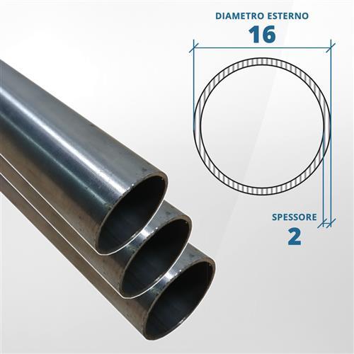 Tubo diametro 16 spessore 2 mm (opaco) - AISI 304