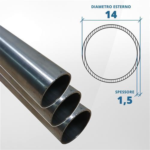 Tubo diametro 14 spessore 1,5 mm (opaco) - AISI 304