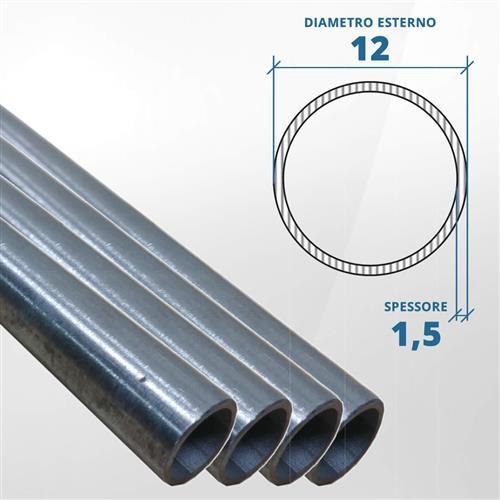 Tubo diametro 12 spessore 1,5 mm (opaco) - AISI 316L