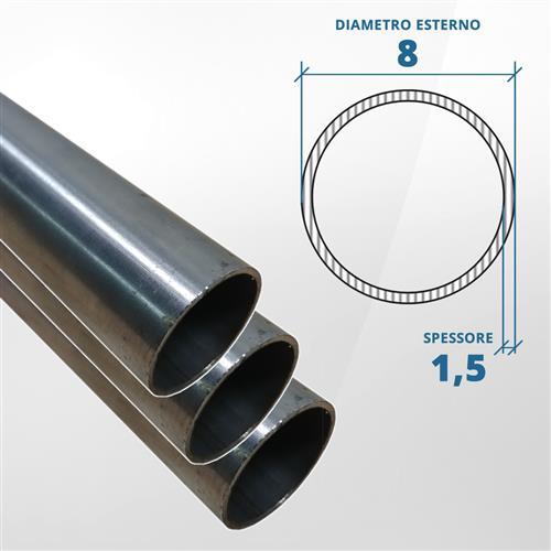 Tubo diametro 8 spessore 1,5 mm (opaco) - AISI 316L