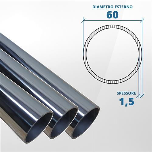 Tubo diametro 60 spessore 1,5 mm (lucido) - AISI 316L